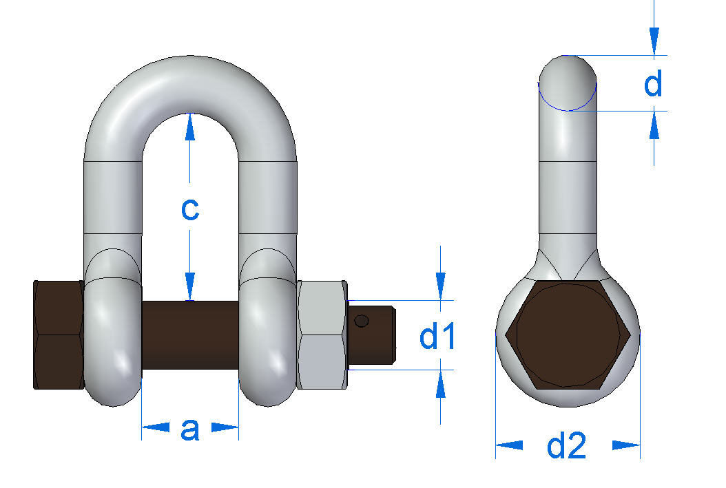 Dee Shackle No 835, Gunnebo, measurements